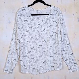 H&M black white print button back blouse peaguses